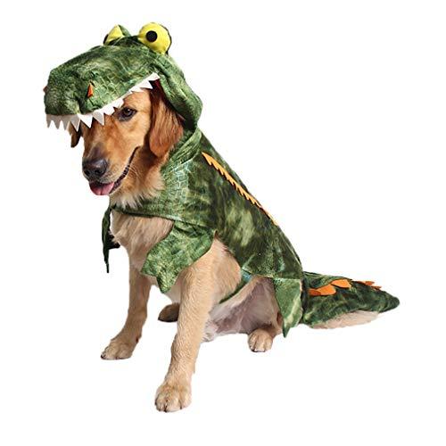 Coppthinktu Alligator Dog Kostüm Halloween Krokodil Kostüm Hoodie Mäntel Pets Jumpsuits, XX-Large, Mehrfarbig