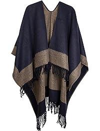 styleBREAKER Poncho, Cape im 2-Tone Design mit Fransen, Umhang, Überwurf Cape, Wendeponcho, Damen 08010004