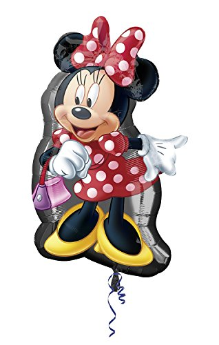 rty und Dekoration - Folienballon Super Shape - Disney Minnie Mouse, circa 48 x 81 cm (Minnie Luftballons)