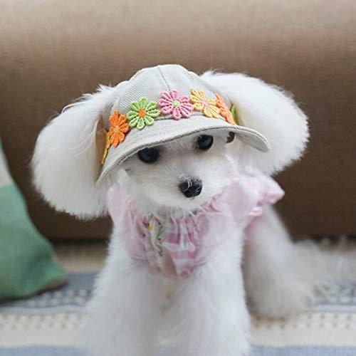 VICTORIE Sombrero para Perros Gorras Verano Visor protección Solar al Aire Libre Viaje Ajustable con Agujeros Gato PequeñOs Mascotas Margarita M