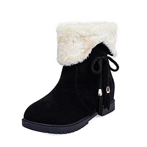 Schneestiefel Winter Stiefeletten Damen Sannysis Schuhe Heels Winterstiefel Mode Schuhe (Schwarz, 38)