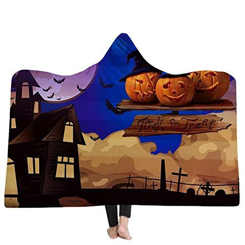 FGVBWE4R 3D Kapuzendecken Halloween Ghost Home Erwachsene Thread Decken Warme Weiche Kürbisse Cartoon 3D Druck Mit Kapuze Decken-06,150x200 cm