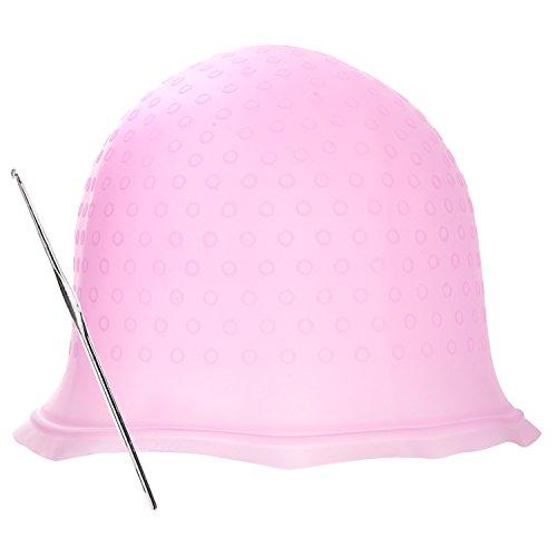Haare Färben Kappe Silikon Hervorhebung Cap mit Metall Haar Haken für Färben Haar (Rosa) (Kappe Metall)