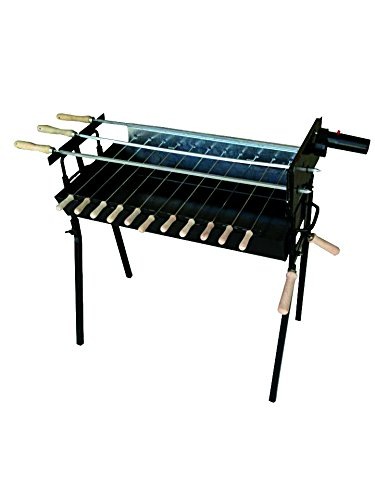 41JaSRyNMQL - CyprusBBQ Rotisserie Charcoal Barbecue Set - Authentic Cypriot Greek BBQ Foukou Outdoor Garden Steel Barbeque with a Pair of Small Stainless Steel Chicken Hooks - Modern Extra Wide Black New