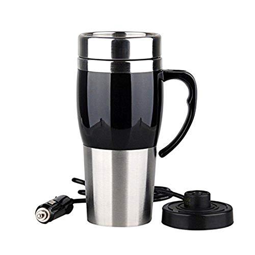 LARRY SHELL Beheizter Reisebecher Auto Coffee Thermos Coffee Mug Vakuumisolierte Edelstahlbecher zum Erhitzen des Wasserdichten Deckels für Kaffee, Milch und Tee -