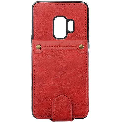 BisLinks®® Für Samsung Galaxy S9 Back Wallet Fall Cover Fitted PU Leder Classic Stil Magnetisch Flip Protection Shockproof - Red -