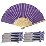 Abanicos de papel y bambú para regalo de boda (10 unidades), morado