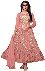 AnK Anarkali Kurtis for Women, Heavy Embroidered Semi-Stitched Long Salwar Suit - Free Size