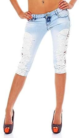 10554 Fashion4Young Damen Sexy Capri-Jeans Bermuda Short kurze Hose Hot Pants Shorts jeans Spitze (XS=34, Blau)