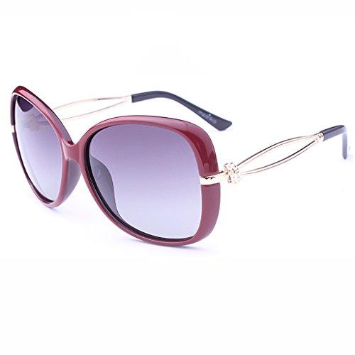 Lunettes de soleil Lunettes de soleil femme polarisée lumière grand cadre lunettes mode concise ( Couleur : Jujube Rouge )
