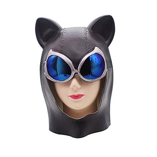 KTYX Halloween Horror Maske Sexy Katze Weibliches Gesicht Horn Horn Fuchs Maske Video Batman Kopfbedeckungen Katze Gesichtsmaske Maske (Weiblich Unheimlich Halloween-gesichter)