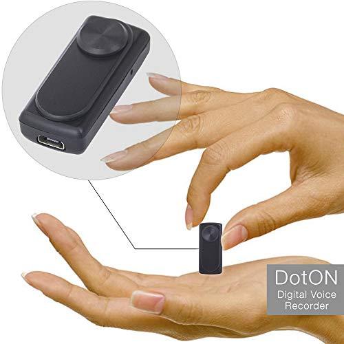 Mini grabadora de voz - 90 horas de capacidad con memoria de 8GB - 20 horas de duración de la batería - Sensor de activación de voz – registrador dotON
