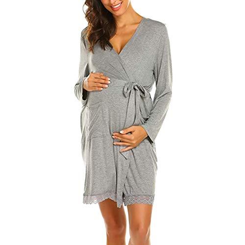 Ropa para Dormir para Premamá Camisón Lactancia Vestido de Casa Mujer Embarazada Algodón Bata Camisones...