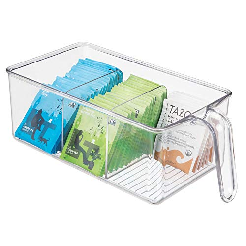 mDesign Boite de Rangement à 3 Compartiments - Boite pour frigo idéale pour la Cuisine, Le Placard ou Le frigo - bac Alimentaire en Plastique avec Large Ouverture et poignée intégrée - Transparent