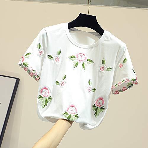 CTQDD T-Shirt Gestickte Blumen T-Shirt aus Reiner Baumwolle Frau Rundhals Kurzarm Top Neue Frühlingssommer-T-Shirts Lady Tees Wear it Fresh and Breathable M White -