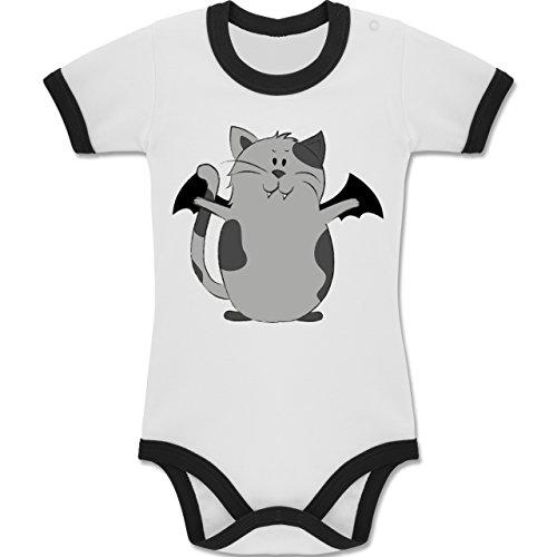 Anlässe Baby - Katze Halloween - 12-18 Monate - Weiß/Schwarz - BZ19 - Zweifarbiger Baby Strampler für Jungen und (Animaux Kostüm D'halloween)