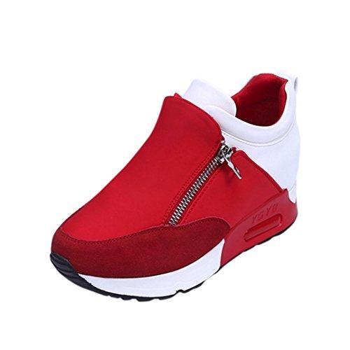 ay Turnschuhe Freizeitschuhe Frauen Fashion Sport Laufen Wandern Dicke Boden Outdoor Reißverschluss Plateauschuhe (Rot, 37 EU) (Rot Schuhe Für Verkauf)