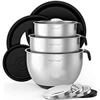 ‏‪Stainless Steel Mixing Bowls With Pour Spout, Set of 3 with Non-Slip Silicon Handles & Non-Skid Bottom, Measurement Marks In Each Bowl, 3 Different Grater Attachments and Leak-Proof Lids, (Black).‬‏