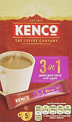 Kenco 3 in 1 Smooth White Instant Coffee with Sugar, Pack of 7 by JDE