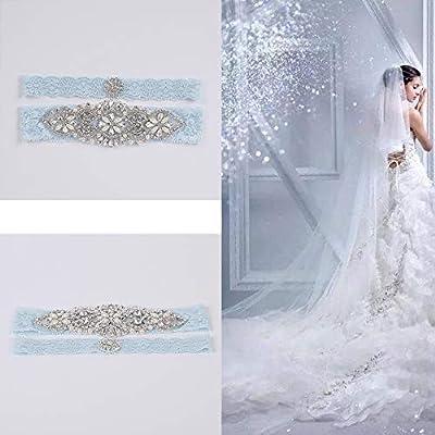 Kalolary Hochzeit Spitze Strumpfband Hochzeit Braut Strumpfband Stretch Womens Elastische Sexy Braut Perle Sets mit Strass Für Hochzeit, Party, Abend (Hellblau)
