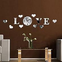 EsportsMJJ Bricolaje 3D Hogar Moderno Amor Pared Reloj Decoración Espejo Sala De Estar