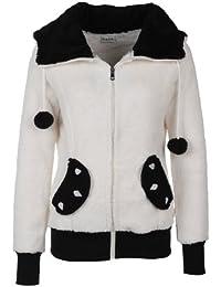 Sublevel Damen Fleece Jacke Panda Style mit Öhrchen und Panda Gesicht