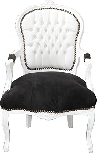 Casa-Padrino Silla Barroco Salón Blanco/Negro Mod2 Bling Bling