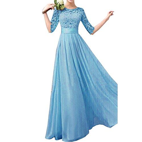 Uranus Damen Spitzen Chiffon Formell Maxikleid Braut Brautjungfer Hochzeitskleider Langes Kleid Blau