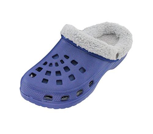 Brandsseller Herren Clogs Pantoffel Schuhe Gartenschuhe Hausschuhe gefüttert Slipper - Farbe: Blau/Grau - Größe: 45