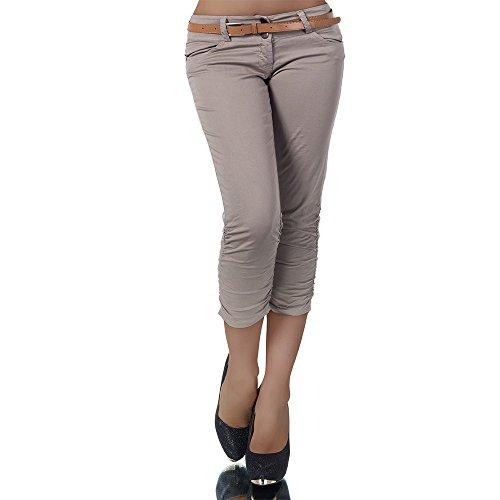 H968 Damen Chino Hose Stoffhose Capri Bermuda Sommerhose Boyfriend Shorts Gürtel, Farben:Coffee;Größen:42 (XL)