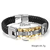 CHNSSZ Bracelet Men's Stainless Steel Gold Color Twist Cable  Wire Leather Charms...