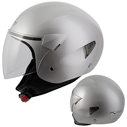 A-Pro, casco da motociclo, casco Demi da scooter, colore argento, taglia S