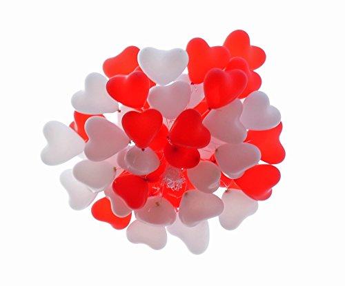 Gentleman's trade gbr 100 palloncini a forma di cuore rosso e bianco, 50 palloncini a forma di cuore, perfetti come palloncini per matrimonio, san valentino, in lattice di alta qualità