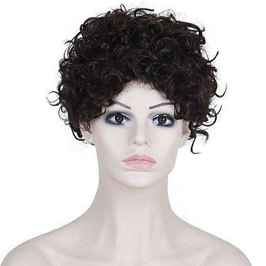 HJL-r¨¦sistant faux perruque de cheveux perruques de chaleur bon march¨¦ brun fonc¨¦ courts afro boucl¨¦s synth¨¦tiques pour les femmes noires