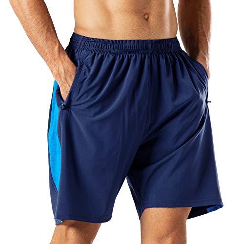 Herren Sport Shorts Schnell Trocknend Kurze Hose mit Reißverschlusstasch(Marine Blau,XL)