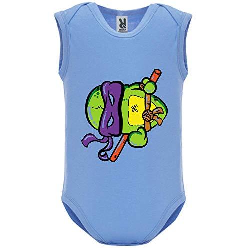 LookMyKase Body bébé - Manche sans - Turtle Violet - Bébé Garçon - Bleu - 3MOIS