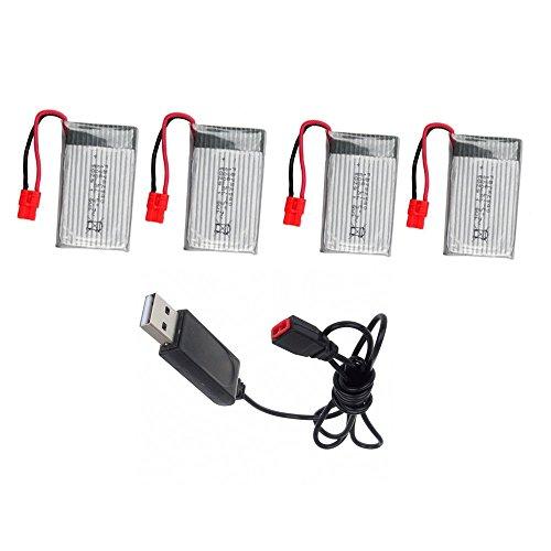 CreaTion® SYMA X5HC X5HW RC batteria 500mAh lipo Quadcopter parti 3.7V con Cavo di ricarica USB - Parti
