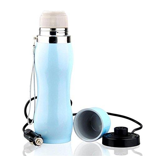 Hervidor De Agua Eléctrico,Caldera eléctrica del coche Calentador de 12 voltios de encendedor de la calefacción que hierve la manera de la manera aisló vacío el acero inoxidable Azul