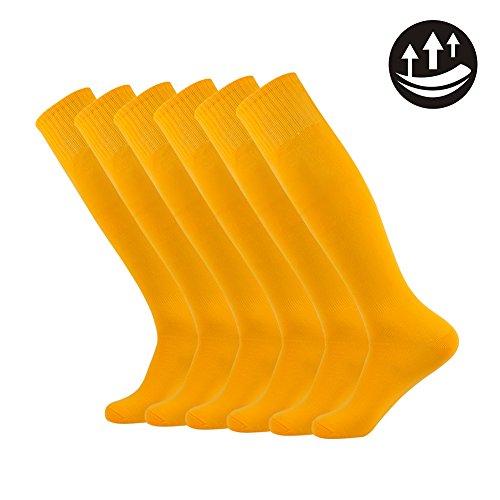 Knie hohe athletische Fußball-Socken, Unisex Solide lange Art und Weise Spieler Socken 2-12 Paare (Socken Knie-hohe Leichte)