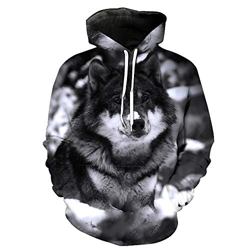 Liebhaber Adult Sweatshirt (Simmia Fashion Unisex 3D Print lustige kreative Grafik Samt Pullover, Husky grau Print Kordelzug Hoodies mit großen Taschen Sweatshirts, M)