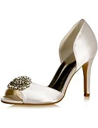 Qingchunhuangtang@@ Tacco alto scarpe matrimonio partito calzatura scarpa tacchi alti,quaranta,l'avorio