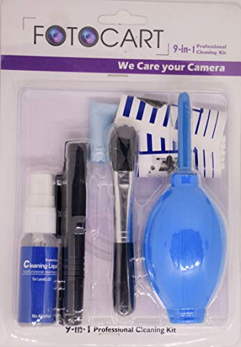 FotoCart Professional Clean Pro 9 in 1 Multi-Purpose Cleaning Kit for Cameras, Lenses, Binoculars, LCD, Laptops, Desktops, Keyboards, etc