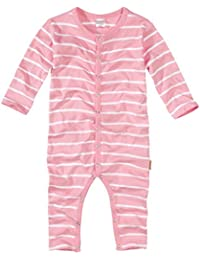 wellyou, Schlafanzug, Pyjama für Mädchen, Einteiler langarm, Baby Kinder, rosa weiß gestreift, geringelt, Feinripp 100% Baumwolle