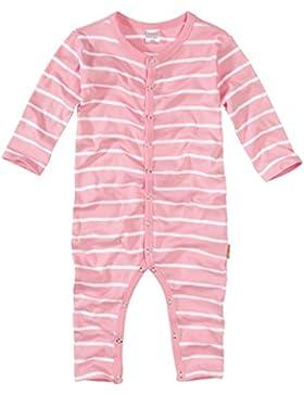 wellyou, Schlafanzug, Pyjama für Mädchen, Einteiler langarm, Baby Kinder, rosa weiß gestreift, geringelt, Feinripp...