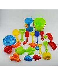 Yolandabecool Set de Juguetes de Arena Castle Plastic (25 Piezas) Set de Juguetes de Playa Castillo para Niños