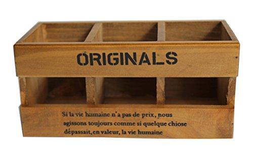 zakka Schreibtisch Stationery Aufbewahrung Organizer Box, Bleistift Stifthalter aus Holz (Holder Land Pot)