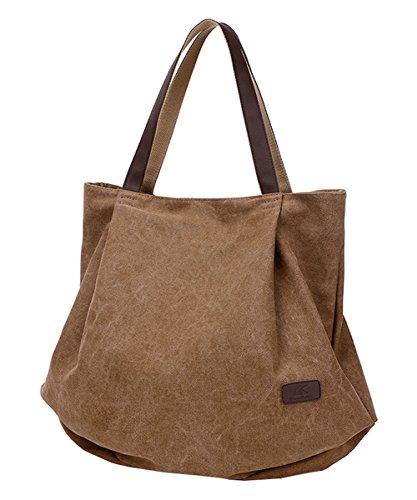PB-SOAR Damen XXL Vintage Canvas Shopper Schultertasche Handtasche Beuteltasche Freizeittasche (Braun)