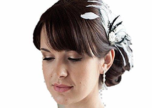 Braut Hochzeit Fest Kristall Haarschmuck Haarspange Feder große blüte Kopfschmuck Haarblume Blumen Haarspange Damen Accessoires Flower Blüten in weiss aus Handarbeit mit Perlen