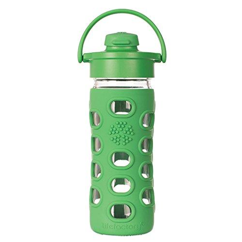 Lifefactory Gourde en verre avec bouchon rabattable Flip Top - Vert - Vert - 350 ml
