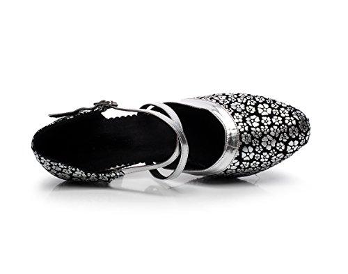 Minitoo qj7044Donna Floreale Sintetico Latina Salsa Tango Danza scarpe Silver